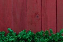 Граница гирлянды дерева рождества вечнозеленая с античной красной деревянной предпосылкой стоковое фото