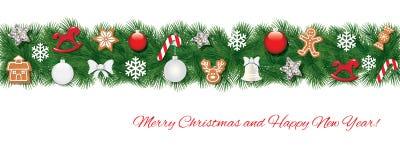 Граница ели рождества украшенная с различными игрушками и печеньями пряника реалистическо иллюстрация вектора