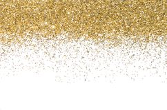 Граница золота Sequins Золотистый блеск порошок glitter предпосылка светя стоковые изображения rf