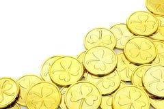Граница золотой монетки дня St Patricks Стоковые Фотографии RF