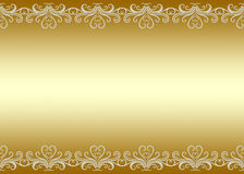 Граница золотой предпосылки безшовная с swirly картиной Стоковая Фотография
