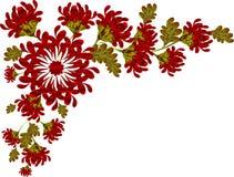 Граница красных цветков и листьев Стоковое фото RF