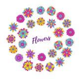 Граница красочного doodle венка цветков круглая Стоковая Фотография