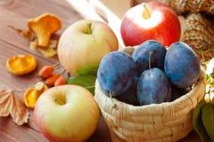 Граница осени сделанная из плодоовощей, овощей, грибов, гаек на деревянном столе Стоковая Фотография