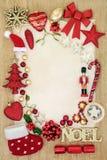 Граница предпосылки безделушки рождества Стоковое Изображение RF