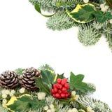 Граница предпосылки зимы и рождества Стоковая Фотография