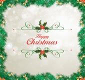 граница предпосылки кладет тесемки в коробку подарка рождества золотистые изолированные белые Стоковая Фотография