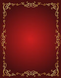 Граница приглашения свадьбы в красном цвете и золоте Стоковое Изображение