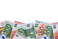 Граница различного различного евро представляет счет белая предпосылка Стоковые Фото