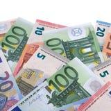 Граница различных различных счетов бумажных денег валюты евро Стоковая Фотография RF