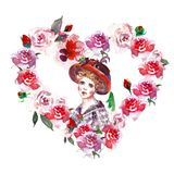 Граница рамки акварели флористическая с красивым портретом женщины в винтажном стиле иллюстрация руки вычерченная венка сердца с  бесплатная иллюстрация