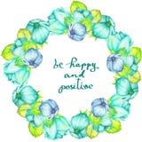 Граница рамки (венок) нежных цветков сини и бирюзы при листья мяты покрашенные в акварели на белой предпосылке, приветствует Стоковое Фото