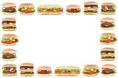 Граница рамки космоса экземпляра copyspace бургера cheeseburger гамбургера Стоковая Фотография