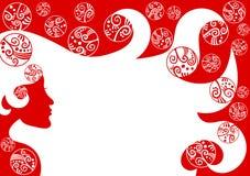 Граница рамки рождества волос женщины Стоковое Изображение