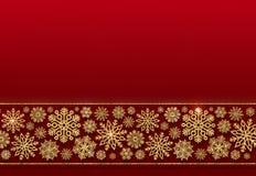 Граница рождества золотых снежинок на красной предпосылке Стоковые Фотографии RF