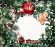 Граница рождества с ветвями ели, красными безделушками, конусами сосны и Стоковые Фото