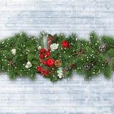 Граница рождества с ветвями ели, падубом и древесиной n ¾ яблок Ð стоковое фото