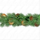 Граница рождества с ветвями ели, шариками золота и whi n ¾ конусов Ð стоковые фотографии rf