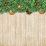 Граница рождества с ветвями ели, шарики золота и ¾ n конусов Ð сватают иллюстрация штока