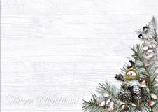 Граница рождества с покрытыми снег ягодами на белой деревянной предпосылке стоковая фотография rf