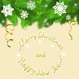 Граница рождества ветвей и снежинок ели Стоковые Фотографии RF