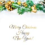 Граница рождества в зеленом цвете и золоте Стоковая Фотография RF
