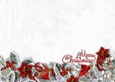 Граница рождества на белой предпосылке с снежными ветвями, poinset Стоковые Фотографии RF