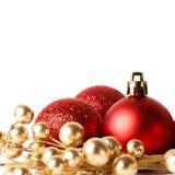 Граница рождества с красным орнаментом Стоковое Изображение