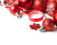 Граница рождества с красным орнаментом Стоковое Фото