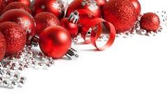 Граница рождества с красным орнаментом Стоковая Фотография
