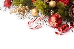 Граница рождества с орнаментом Стоковое Фото