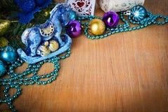 Граница рождества с украшением Стоковое фото RF