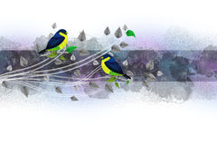 Граница сбора винограда с птицами Стоковое Фото