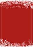 Граница снежинки зимы ретро и предпосылка рождества красное backg Стоковое фото RF