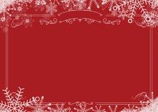 Граница снежинки зимы рождества ретро и красное текстурированное backgro Стоковое фото RF