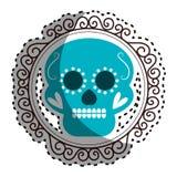 Граница стикера винтажная с декоративным орнаментальным черепом сахара Стоковое Изображение