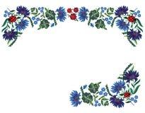 Граница с голубыми цветками и ladybugs Стоковое Изображение