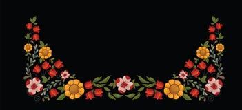 Граница с декоративными желтыми и красными цветками Стоковые Изображения