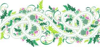 Граница с кельтскими орнаментом и thistle цветков иллюстрация вектора