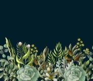 Граница с листьями и succulent в стиле акварели Евкалипт, магнолия, папоротник и другая иллюстрация вектора бесплатная иллюстрация