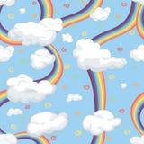 Граница с облаками и радугой Стоковое Изображение RF