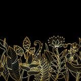 Граница тропического золота безшовная Стоковое Изображение