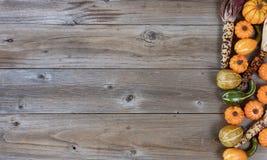 Граница тыкв и тыкв на деревенской древесине на праздник осени Стоковые Фото