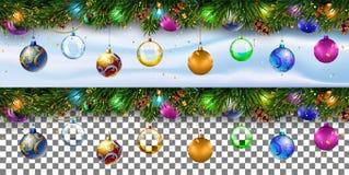 Граница украшения рождества с ветвями ели transparenc стоковое изображение