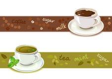 Граница установленная с чашками чаю и кофе иллюстрация вектора
