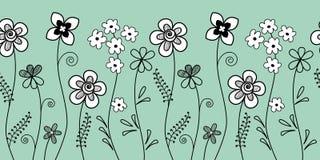 граница флористическая Безшовная картина с белыми и черными декоративными цветками на голубой предпосылке Стоковые Фото