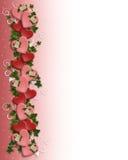 граница цветет Валентайн сердец Стоковое фото RF