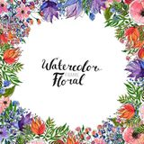 Граница цветка акварели Стоковая Фотография
