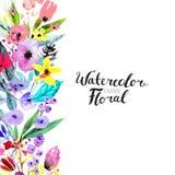 Граница цветка акварели Стоковое фото RF