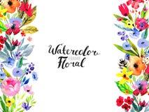 Граница цветка акварели Стоковые Фотографии RF